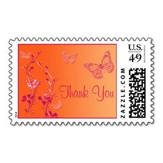 Pink and Orange Floral Thank You Wedding Postage