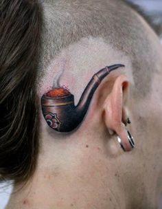 Pipe 3D head Tattoo   #Tattoo, #Tattooed, #Tattoos