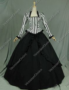 Civil War Victorian Black White Stripes Dress Reenactment Stage Costume 321 XXL