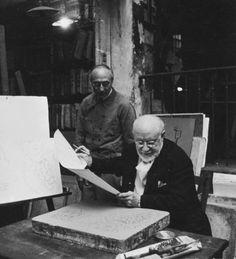 Henri Matisse working on a lithograph at Mourlot studio, Paris