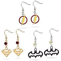 ThinkGeek :: Superhero Dangle Earrings-- love both the batman & Flash ones! Jewelry Box, Jewelery, Jewelry Accessories, Fashion Accessories, Nerd Jewelry, Diesel Punk, Cyberpunk, Rockabilly, Grunge