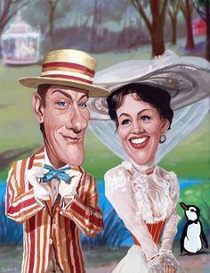 dick van dyke caricatures | Julie Andrews and Dick Van Dyke in Mary Poppins