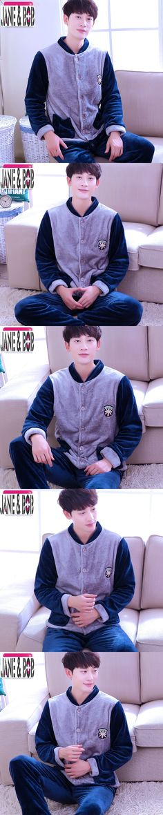 2017 New Warm Men's Sleep & Lounge Patchwork Coral Fleece Pajama Sets Soft  Hot Nightgowns Flannel Homewear Clothes Plus Size