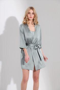 SILK ONLY Silk Short Wrap Gown - Greyish Green