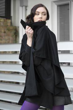 Misty Lang wool cashmere cape coat Cashmere Cape, Cape Coat, Raincoat, Goth, Jackets, Fashion Design, Dresses, Style, Rain Jacket