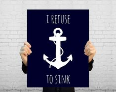 I Refuse To Sink Nautical Anchor Art Print Navy von BySamantha