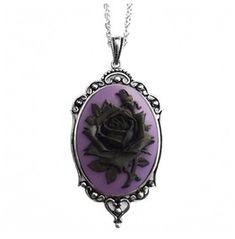 Black Rose Purple Necklace
