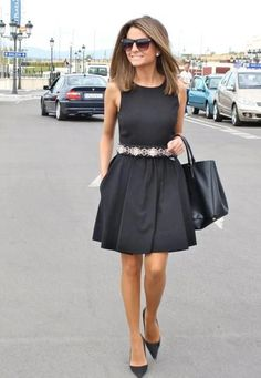Black Sleeveless Summer Dress & Black Leather Hand Bag
