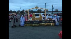 Christmas began with Christ. Black and gold. Mary and Joseph. Christmas Float Ideas, Christmas Parade Floats, Baby Float, Children Church, Baby Jesus, Church Ideas, Crossover, Joseph, Mary