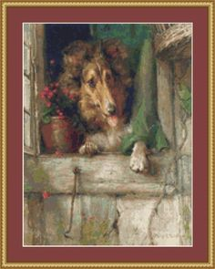 A Collie At The Window Cross Stitch Pattern
