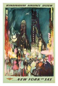 Scandinavian Airlines System - New York by SAS - New York City Times Square Art Print