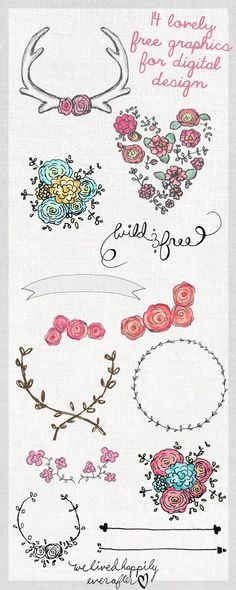 Digital design Inspiration Clip Art, 14 Lovely Free Graphics for Digital Design Digital Doodles, Little Presents, Free Graphics, Vector Graphics, Grafik Design, Tattoo Studio, Clipart, Vintage Prints, Design Elements