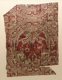 Textile Fragment from the Shrine of San Librada, Sigüenza Cathedral Object Name: Fragment Date: first half 12th century Geography: Spain Culture: Islamic Medium: Silk, metal wrapped thread; lampas