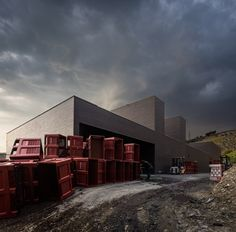 Alves de Sousa winery is a black brick box that emerges from its hillside site