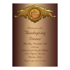 Elegant Thanksgiving Dinner Party Invitations