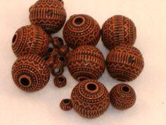 Terracotta Fancy Scrolled Round Beads, Acrylic - 19 mm -  8 beads per bag - DESTASH. $1.75, via Etsy.