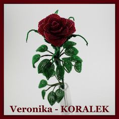 Dark red french beaded rose made of Preciosa seed beads and copper wire. It is nice decoration and wonderful gift.