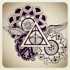 Harry Potter deathly hallows art by Emily Henry. -tattoo ideas // this would make an awesome tattoo! Maybe on the shoulder blade or upper thigh