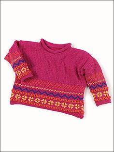 Free Knitting Patterns for Kids' Clothing - Child's pullover sweater with charted Fair Isle pattern in D. Free Baby Sweater Knitting Patterns, Fair Isle Knitting Patterns, Knitting For Kids, Free Knitting, Girls Sweaters, Baby Sweaters, Knit Sweaters, Intarsia Knitting, Kids Clothes Patterns