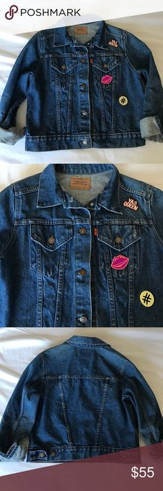 Levi's Vintage Denim Jacket w/ added Patches ! 🔥 Levi's vintage jean jacket 🔥Spring 17 look the bigger the better ( as seen in last pic for styling) unique piece with patches on the Levi's jacket !!!!! Sized large but will look styling for small to medium for the oversized look :) Levi's Jackets & Coats Jean Jackets