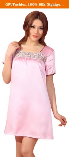 GPUFashion 100% Silk Nightgown Womens Small Fresh Pink Lace Neck. This Fresh Pink Short Sleeve Nightgown is a Relaxed Style Lace Boat Neck Nightgown. Made of 100% Silk,16.5 momme. with Lace Neck. Short Gown . Silk is one of the most soft Natural protein fibre. Contains 18 amino acids needed by human. 'Second skin of humam' 'Queen of fibre' are the most praises of silk. Silk Clothes help to keep your skin health. Silk's absorbency and low conductivity makes it comfort in warm and warm in...