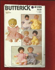 1980s Butterick 4144 Baby Doll Clothes Pattern Nightgown Rompers Dresses & Bonnet Size 16 inches Tall $9.50