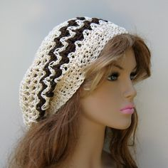 Cotton Dread Tam Hat Hippie Ecru Brown
