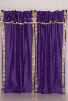 Purple Attached Valance  with beads Sari Curtains , Drapes, Panels   Get four, have on on each Chuppah pole!!