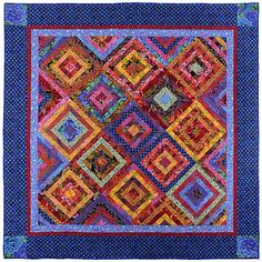 """This fun, strippy quilt in Spring-like colors was made with a large selection of bright and colorful high quality cottons, mostly Kaffe Fassett and Westminster fabrics. Measuring 85"""" square, this quilt is a great size for a double or queen size bed. The backing fabric is a fun, soft coordinating striped cotton.    I machine-quilted this quilt on my Gammill longarm with an overall design, with Quilter's Dream100% cotton batting. The binding is double thickness and was machine stitched to the…"""