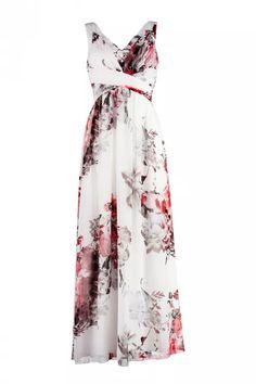 Floyd kjole Josefine lang print hvit rød