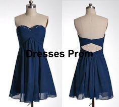 Short formal dress navy blue cutout back