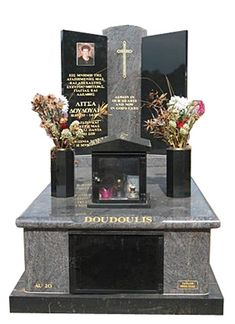 """""""Doudoulis Cemetery Memorial – Full Monument"""" - Springvale Botanical Cemetery. - All polished full monument cemetery memorial made from Paradiso and Royal Black Indian Granites.As stone masons, Taylor Stones cerate quality cemetery memorials, grave memorials and monument head stones - #cemeterymemorials #gravememorials #stonemasons #monumentheadstones #headstone"""