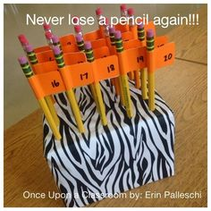 Assign your students a corresponding pencil number to teach accountability and minimize the inevitable lost pencil question. Voila.