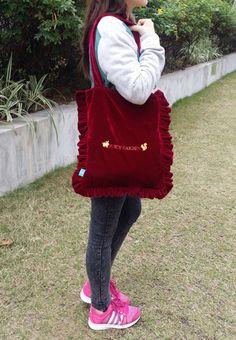 JUICY GARDEN Velvet Ruffles Tote Bag Get this fancy style with special offer: http://marketplace.zalora.com.hk/Velvet-Tote-Bag-175776.html