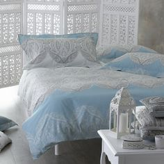 Teal/Ivory Jasmina Double Duvet Cover  monsoon