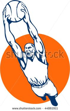 vector illustration of a basketball player dunking the ball #basketball #retro #illustration