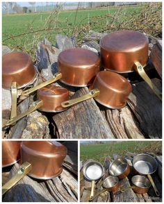 rare French vintage copper pots pans cuisine professional casseroles en cuivre