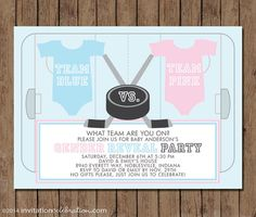Ice Hockey Gender Reveal Party Invitation  by InvitationCeleb  #hockey #baby #gender