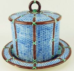 A Very Rare Wedgwood Majolica 'Wicker' pattern cheese