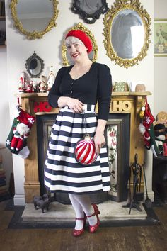 12 Days of Christmas Outfits - Festive Stripes - Lipstick, Lettuce & Lycra Christmas Outfits, 12 Days Of Christmas, Tinsel Christmas Tree, Vintage Inspired Fashion, Outfit Posts, Lettuce, Dress Skirt, Festive, Lipstick