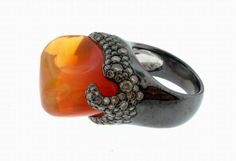 Arunashi Fire Opal Ring in Blackened Setting with Diamonds, $12,500.
