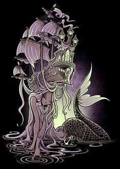 Sailors Beware by Jehsee Siren Mermaid Sailors Ship Canvas Art Print – moodswingsonthenet Siren Mermaid, Mermaid Art, Mermaid Paintings, Mermaid Lagoon, Evvi Art, Art Sketches, Art Drawings, Poseidon, Rolled Paper Art
