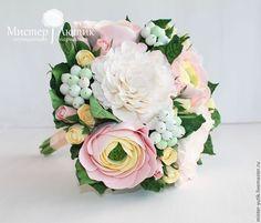 Купить Свадебный букет из полимерной глины - разноцветный, букет, букет цветов, букет невесты