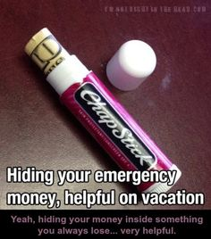 Hiding your emergency money, helpful on vacation -