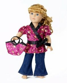 """18 Inch Doll Clothes/clothing Fits American Girl - Satin Tunic & Jeans Outfit Includes 18"""" Dolls Accessories by Wish Doll Company. $14.99. Pretty rose satin tunic top with black bow trim and unique """"no-pull"""" closure for fast, easy dressing. Trendy boot-cut jeans and matching rose satin purse completes the outfit. Made to fit 18 Inch dolls such as American Girl, Madame Alexander, My Generation, etc.. Luxurious high quality fabrics, machine washable, safety tested. *..."""