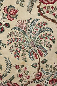 Antique French block printed Indienne fabric material LOVELY printed c1860-80