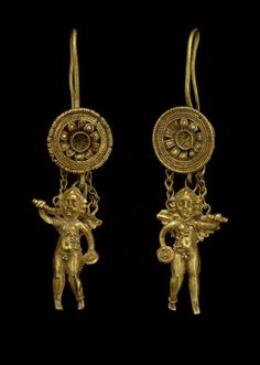 Pair of Earrings in the Form of Eros3rd–2nd century BC. Gold. Greek | The Museum of Fine Arts, Houston.