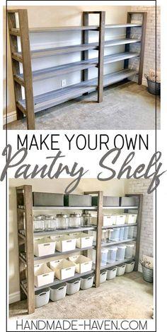 woodworking diy - Most beautiful - DIY pantry shelf . - woodworking diy – Most beautiful – DIY pantry shelf # Pantry - Diy Storage Shelves, Craft Shelves, Easy Shelves, Shelving Ideas, Shelf Ideas, Storage Ideas, Storage Hacks, Storage Solutions, Shoe Shelf Diy