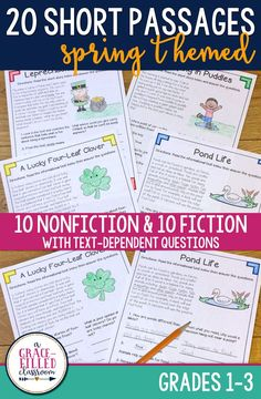 Spring reading passages: Informational and Fictional stories! These short reading passages include higher level thinking questions.