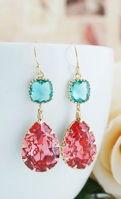 Rose Peach with Blue Zircon Earrings from EarringsNation Coral Weddings